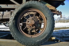 Tire and rim of old truck Stock Photo