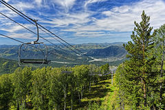 Ski lift. Mountain in summer Royalty Free Stock Photo