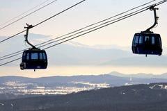 Ski lift at mountain winter resort Royalty Free Stock Photography