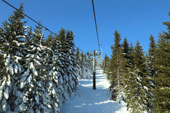 Ski lift in mountain in winter, Serbia Stock Photography