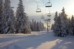 Ski Lift. In the mountains Royalty Free Stock Images