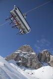 Ski lift on mountains background Stock Photos
