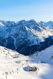 Ski lift in mountains Royalty Free Stock Images