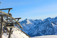 Ski lift in mountains Royalty Free Stock Photo