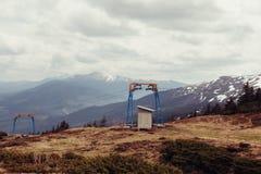 Ski lift in the mountains. Dragobrat. Ski lift in the mountains Stock Photos