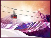 Ski lift, mountains and forest vector illustration