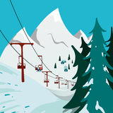 Ski Lift in the mountains Royalty Free Stock Images