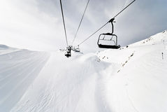 Ski lift on mountains in Paradiski area, France Royalty Free Stock Images