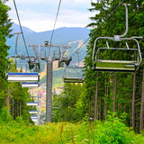 Ski lift in the mountains Stock Image