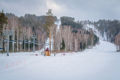 Ski Lift in the mountains Stock Photos