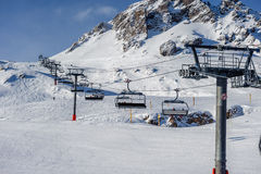 Ski lift in mountains at winter Royalty Free Stock Images