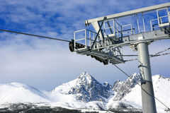 Ski lift in mountains Royalty Free Stock Photo
