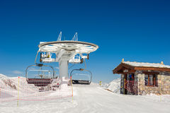 Ski lift in mountains at winter Royalty Free Stock Photography
