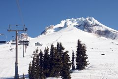 Ski lift on Mt Hood 2. royalty free stock photos