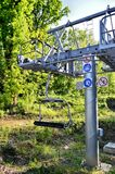 Ski lift over the forest Royalty Free Stock Photography