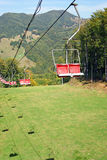 Ski lift over ski track Stock Photo