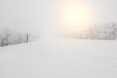 Ski lift over snow mountain in ski resort . Stock Image