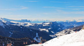 Ski lift and panorama of Dolomites mountain, Italy Stock Images