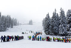 Ski lift people waiting Royalty Free Stock Image