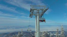 Ski lift in Poiana Brasov resort stock video footage