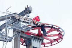 Ski lift repair Stock Image