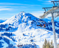 Ski lift. Ski resort Brixen im Thalef. Mountain Hohe Salve Stock Photo