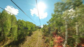 Ski Lift Ride Time Lapse Tilt Shift. V16. Ski lift ride time lapse up mountain in the summer stock video