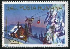Ski lift. ROMANIA - CIRCA 1978: stamp printed by Romania, shows Ski lift, Brasov, circa 1978 royalty free stock photography