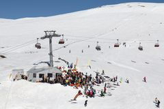 Ski lift Romanian Mountain winter party Stock Images