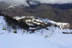 Ski lift in Rosa Khutor Alpine Resort Royalty Free Stock Photos