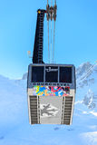 Ski  lift Saulire.  Ski Resort Courchevel wintertime. Royalty Free Stock Photo