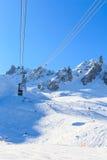 Ski  lift Saulire.  Ski Resort Courchevel wintertime Royalty Free Stock Photo