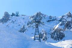 Ski  lift Saulire.  Ski Resort Courchevel wintertime Royalty Free Stock Photos