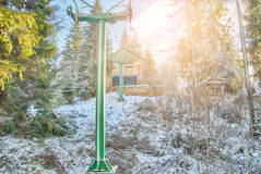 Ski lift with seats Stock Photo
