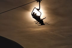 Ski Lift Silhouette Stock Images