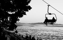 Ski lift. Silhouette of ski lift, monochrome stock images