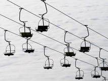 Ski lift. Silhouette of ski lift, monochrome royalty free stock photos