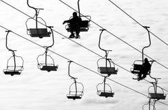 Ski lift. Silhouette of ski lift, monochrome Stock Photos