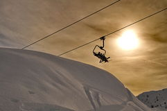 Ski lift silhouette Royalty Free Stock Photos