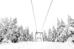 Ski lift in a ski resort Royalty Free Stock Photography
