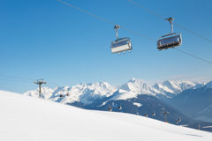 Ski Lift at Ski Resort in the Alps Royalty Free Stock Photo