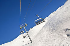 Ski lift and ski slope Stock Photo