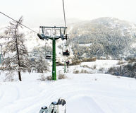Ski lift in skiing area Via Lattea, Italy Royalty Free Stock Photos