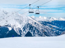 Ski lift in the mountains of Chamonix winter resort, French Alps Stock Image