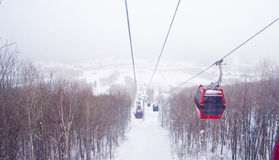 Ski lift. In the snow covered mountain cable car ride ski royalty free stock photography