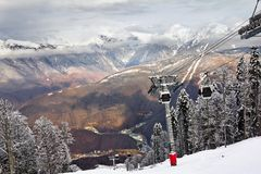 Ski lift in Sochi Krasnaya Polyana Royalty Free Stock Image