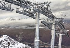 Ski lift in Sochi Krasnaya Polyana Stock Photo