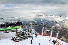 Ski lift in Sochi Krasnaya Polyana on the background of beautifu Royalty Free Stock Images