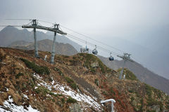 Ski lift in Sochi Krasnaya Polyana, Sochi Stock Photo