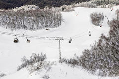 Ski lift in Sochi Krasnaya Polyana Stock Photography